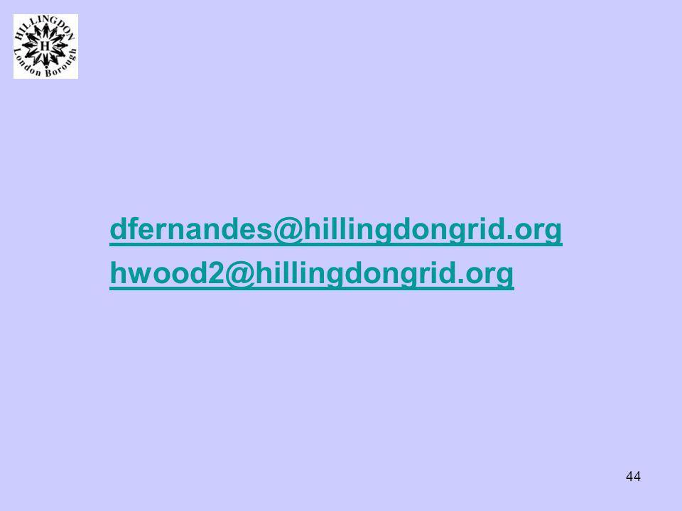 44 dfernandes@hillingdongrid.org hwood2@hillingdongrid.org