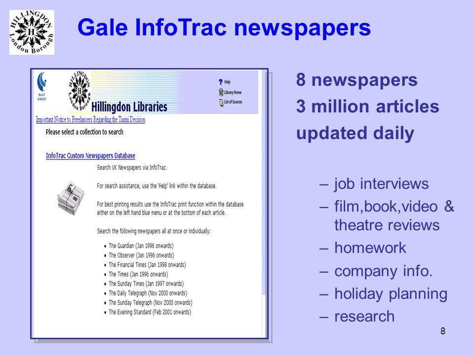 8 Gale InfoTrac newspapers 8 newspapers 3 million articles updated daily –job interviews –film,book,video & theatre reviews –homework –company info.