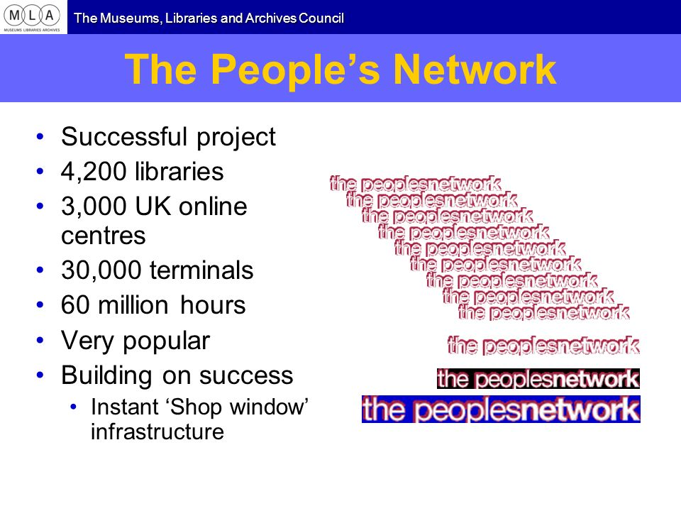 The Museums, Libraries and Archives Council The Peoples Network Successful project 4,200 libraries 3,000 UK online centres 30,000 terminals 60 million