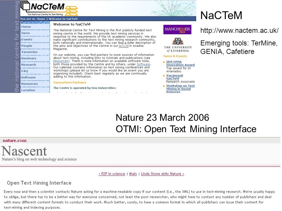 Nature 23 March 2006 OTMI: Open Text Mining Interface NaCTeM http://www.nactem.ac.uk/ Emerging tools: TerMine, GENIA, Cafetiere