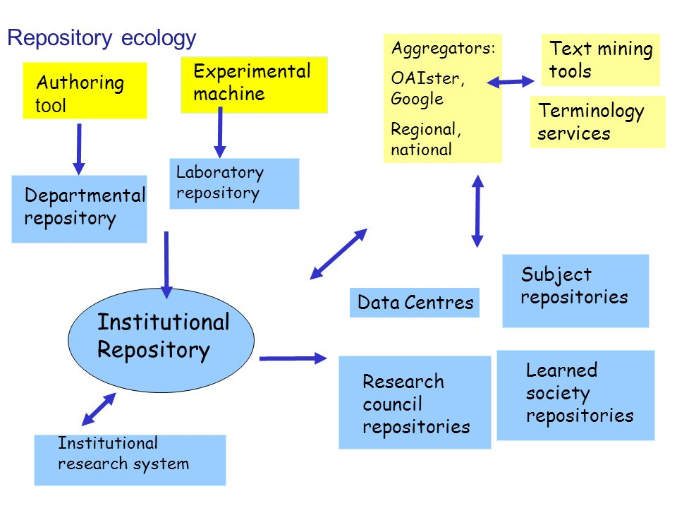 Repository ecology Institutional Repository Departmental repository Authoring tool Subject repositories Institutional research system Data Centres Learned society repositories Laboratory repository Experimental machine Aggregators: OAIster, Google Regional, national Text mining tools Terminology services Research council repositories