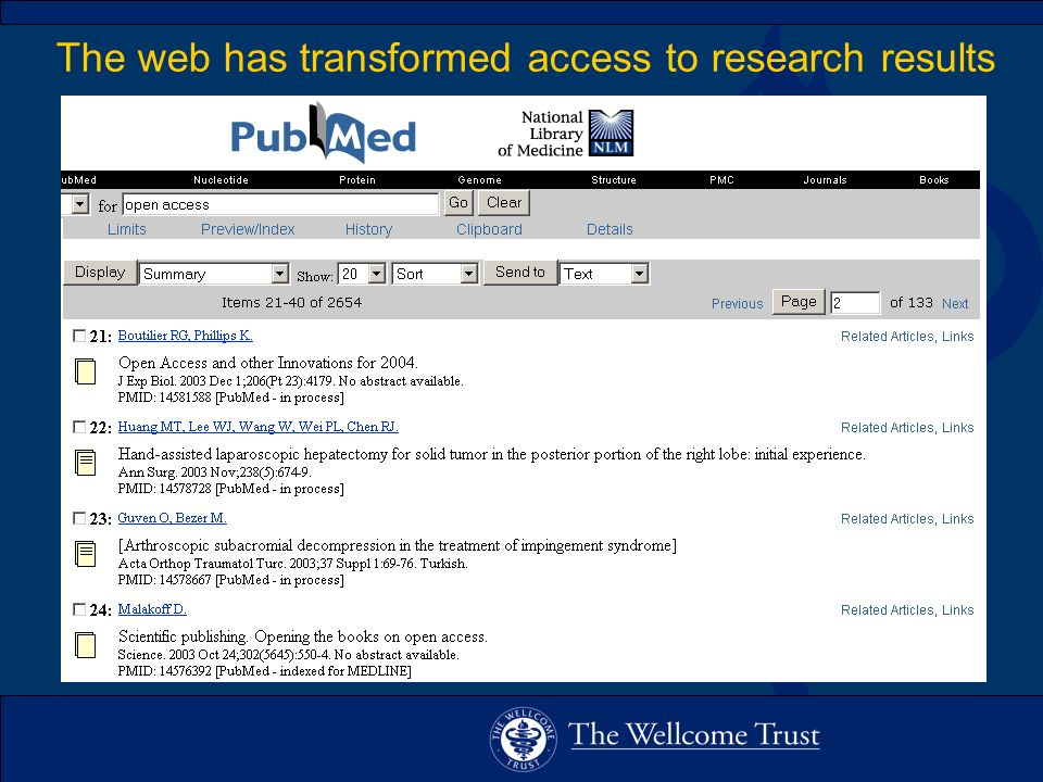 The web has transformed access to research results