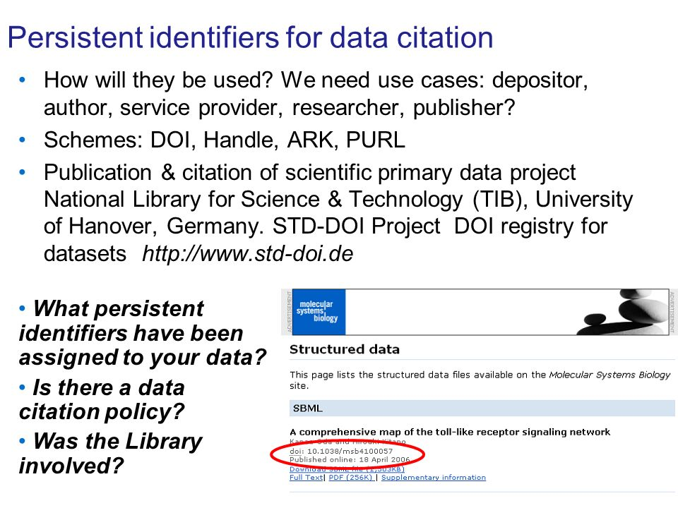 Persistent identifiers for data citation How will they be used.