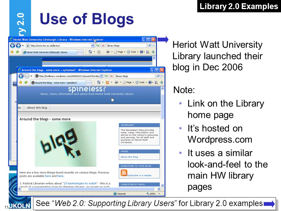 11 Use of Blogs Heriot Watt University Library launched their blog in Dec 2006 Uses Of Library 2.0 Note: Link on the Library home page Its hosted on W