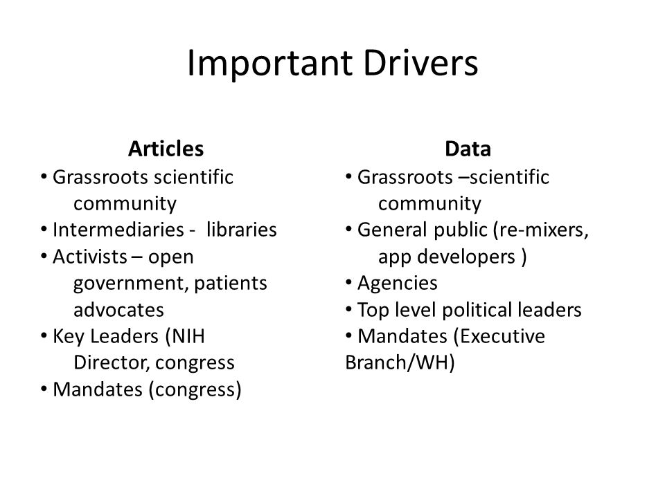 Important Drivers Articles Grassroots scientific community Intermediaries - libraries Activists – open government, patients advocates Key Leaders (NIH