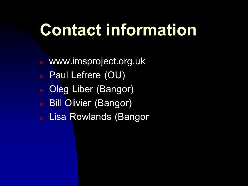 Contact information n www.imsproject.org.uk n Paul Lefrere (OU) n Oleg Liber (Bangor) n Bill Olivier (Bangor) n Lisa Rowlands (Bangor