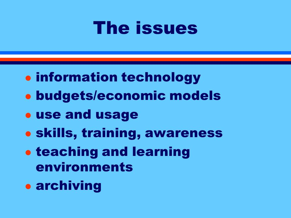 The issues l information technology l budgets/economic models l use and usage l skills, training, awareness l teaching and learning environments l archiving