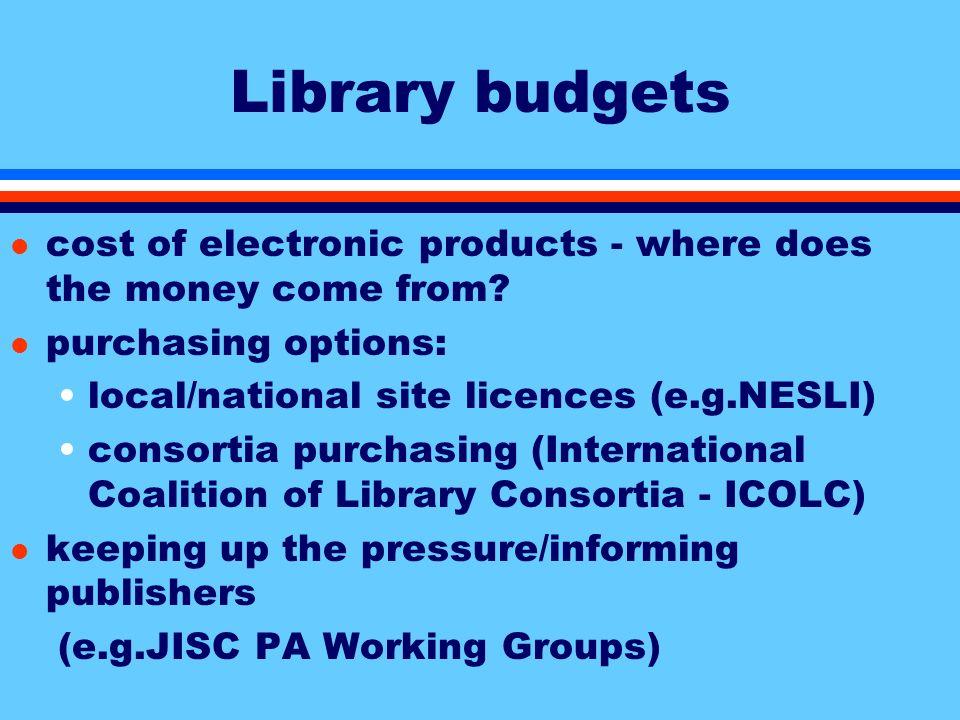Library budgets CURL42%(B)50%(S) 8%(E) Old36%(B)52%(S)12%(E) New45%(B)41%(S)14%(E) Cranfield24%(B)41%(S)35%(E)