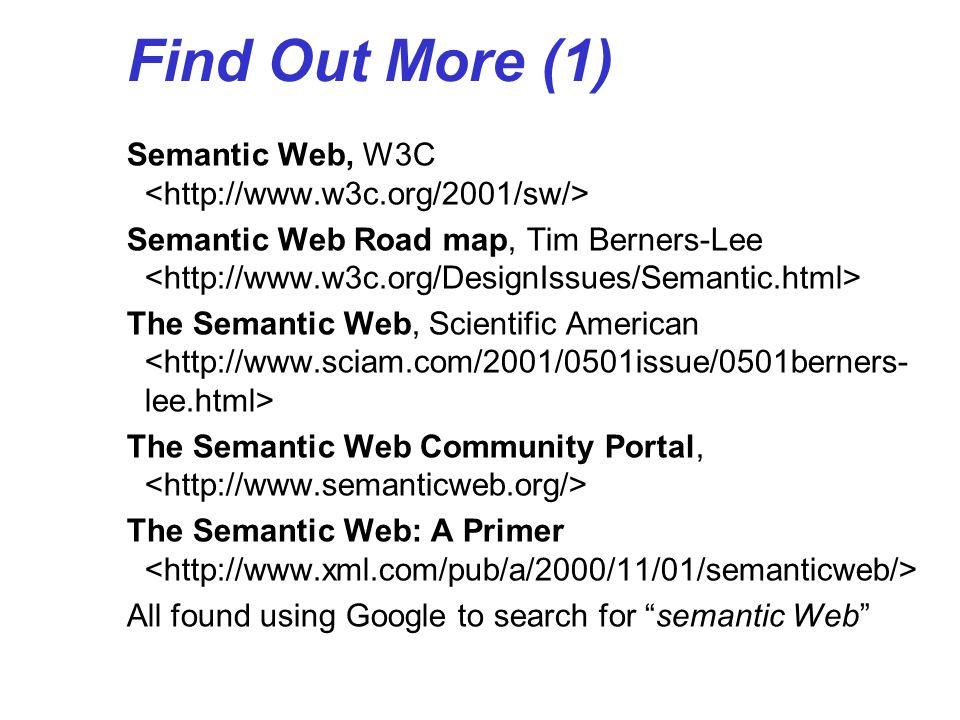 Find Out More (1) Semantic Web, W3C Semantic Web Road map, Tim Berners-Lee The Semantic Web, Scientific American The Semantic Web Community Portal, Th