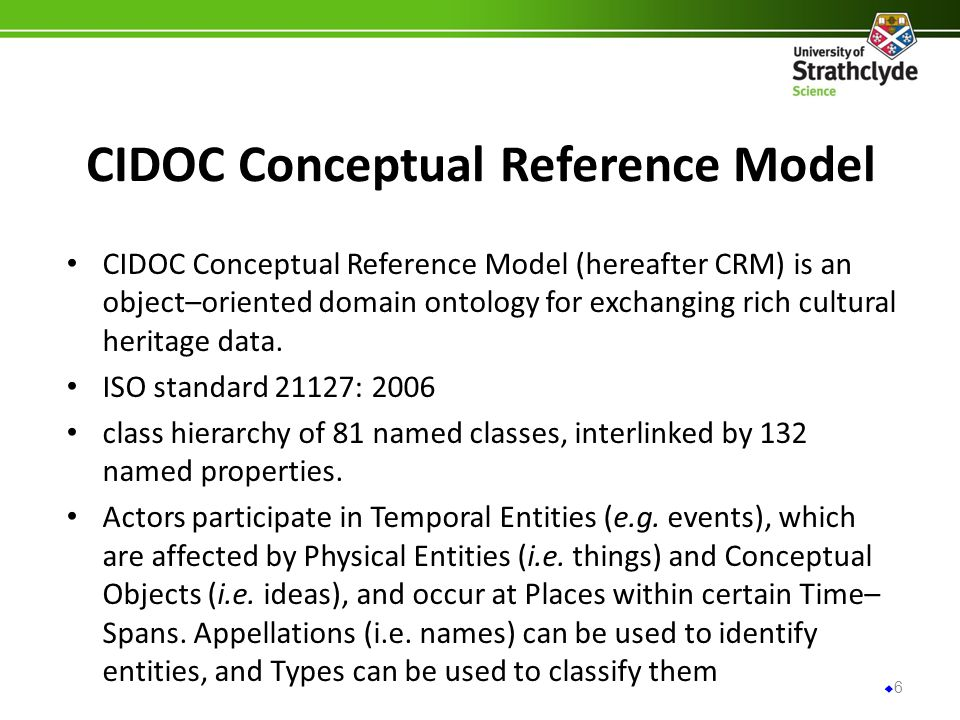 CIDOC Conceptual Reference Model CIDOC Conceptual Reference Model (hereafter CRM) is an object–oriented domain ontology for exchanging rich cultural heritage data.