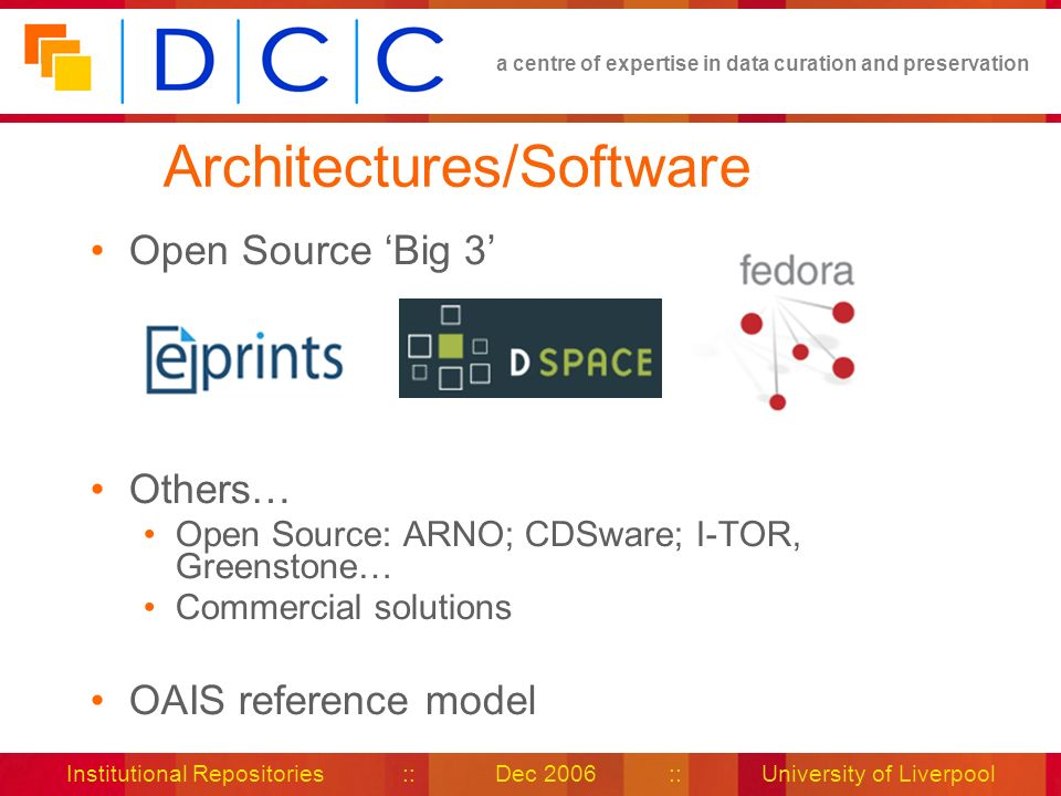 a centre of expertise in data curation and preservation Institutional Repositories :: Dec 2006 :: University of Liverpool Architectures/Software Open Source Big 3 Others… Open Source: ARNO; CDSware; I-TOR, Greenstone… Commercial solutions OAIS reference model