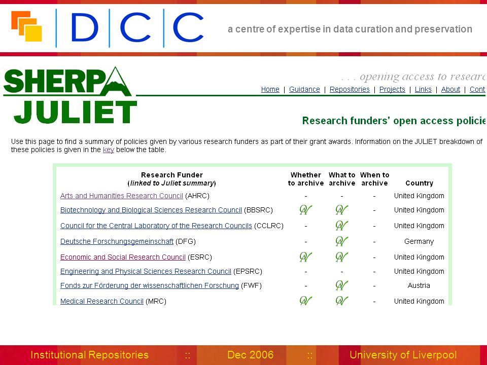 a centre of expertise in data curation and preservation Institutional Repositories :: Dec 2006 :: University of Liverpool