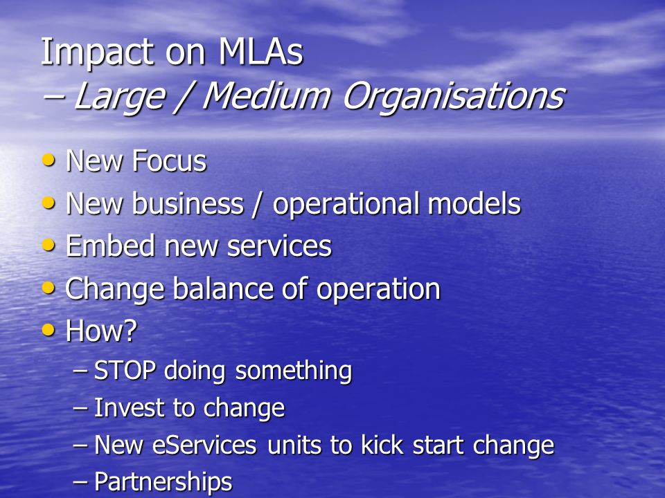 Impact on MLAs – Large / Medium Organisations New Focus New Focus New business / operational models New business / operational models Embed new servic