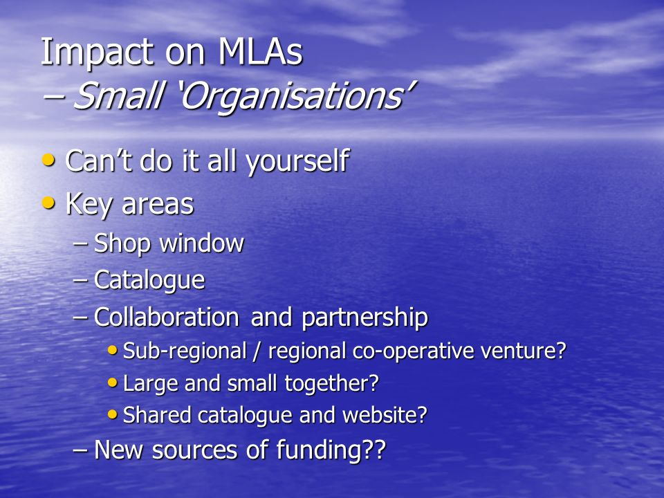 Impact on MLAs – Small Organisations Cant do it all yourself Cant do it all yourself Key areas Key areas –Shop window –Catalogue –Collaboration and partnership Sub-regional / regional co-operative venture.