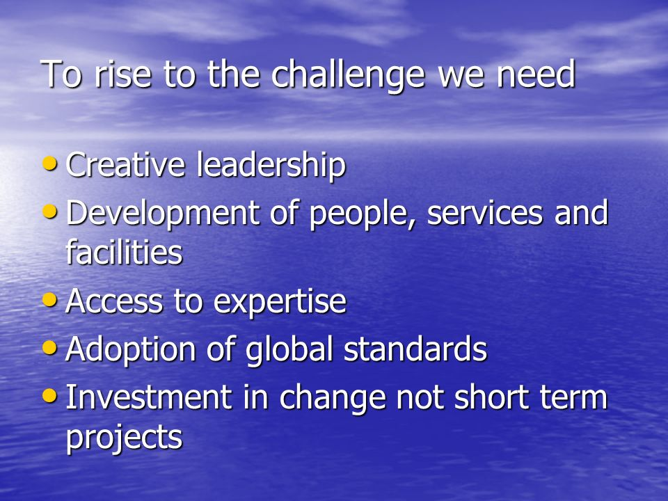 To rise to the challenge we need Creative leadership Creative leadership Development of people, services and facilities Development of people, services and facilities Access to expertise Access to expertise Adoption of global standards Adoption of global standards Investment in change not short term projects Investment in change not short term projects