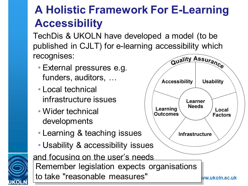 A centre of expertise in digital information managementwww.ukoln.ac.uk A Holistic Framework For E-Learning Accessibility TechDis & UKOLN have developed a model (to be published in CJLT) for e-learning accessibility which recognises: External pressures e.g.