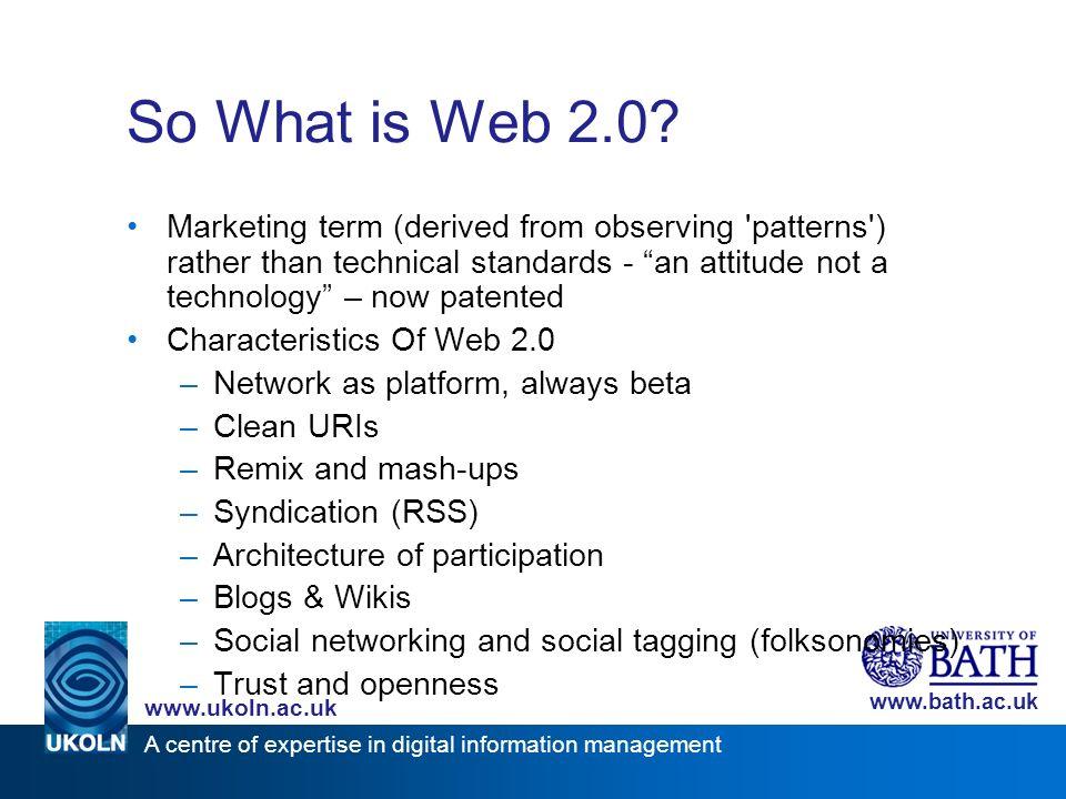 A centre of expertise in digital information management www.ukoln.ac.uk www.bath.ac.uk http://del.icio.us/tag/iwmw2006