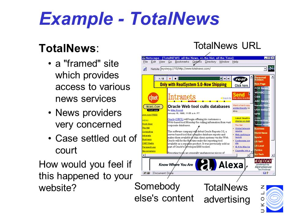 Example - TotalNews TotalNews: a framed site which provides access to various news services News providers very concerned Case settled out of court How would you feel if this happened to your website.