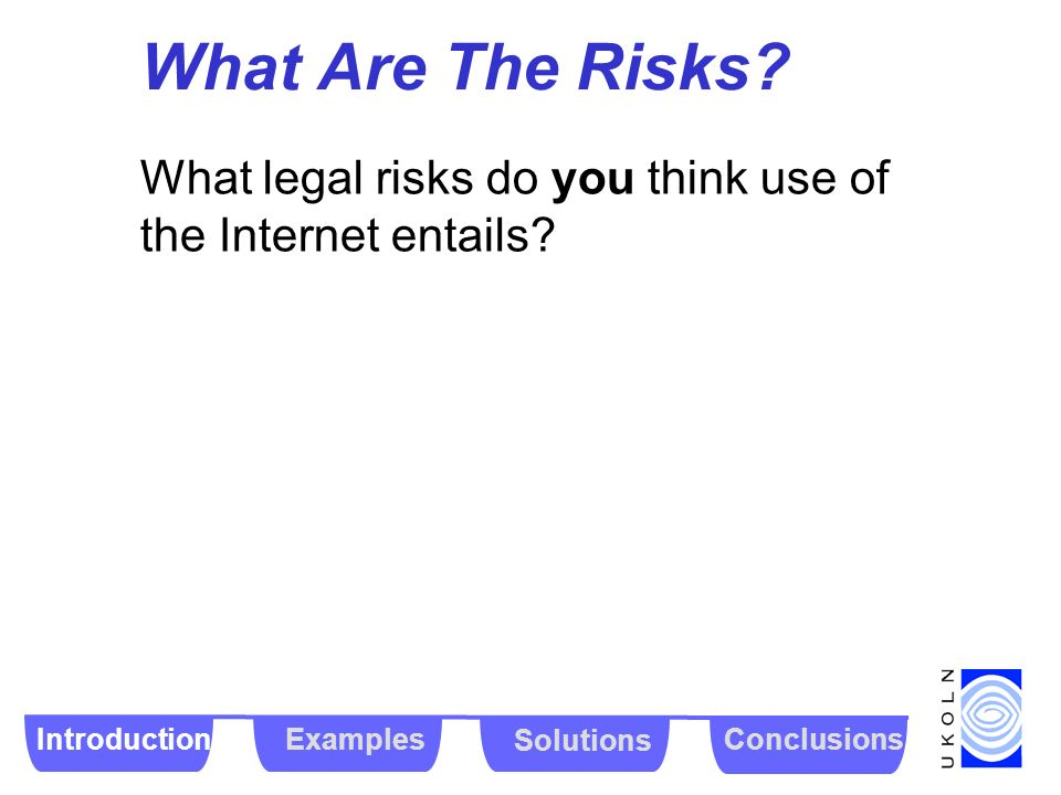 What Are The Risks? What legal risks do you think use of the Internet entails? IntroductionExamples Solutions Conclusions