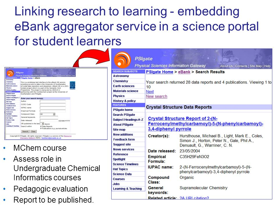 Linking research to learning - embedding eBank aggregator service in a science portal for student learners MChem course Assess role in Undergraduate Chemical Informatics courses Pedagogic evaluation Report to be published.