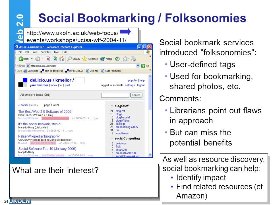 A centre of expertise in digital information managementwww.ukoln.ac.uk 24 Social Bookmarking / Folksonomies Social bookmark services introduced folksonomies : User-defined tags Used for bookmarking, shared photos, etc.