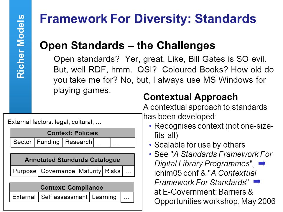 A centre of expertise in digital information managementwww.ukoln.ac.uk 44 Framework For Diversity: Standards Open Standards – the Challenges Open standards.