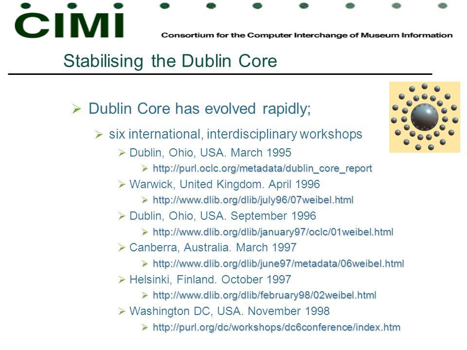 Stabilising the Dublin Core Dublin Core has evolved rapidly; six international, interdisciplinary workshops Dublin, Ohio, USA.