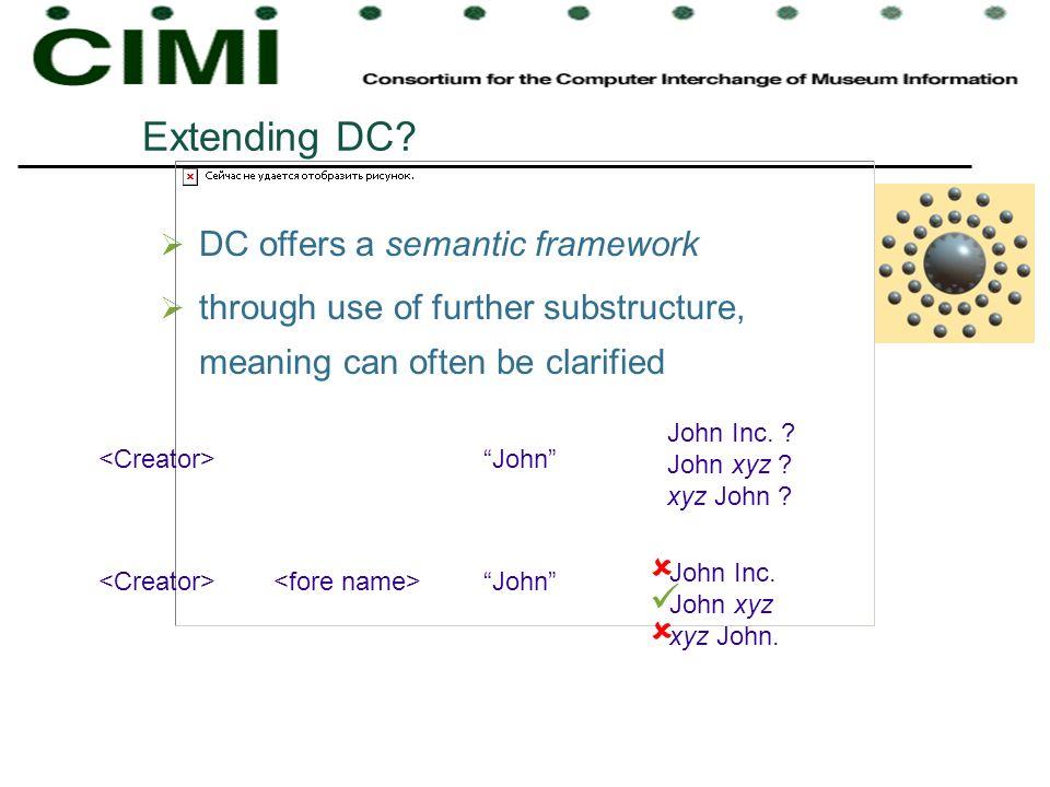 Extending DC? DC offers a semantic framework through use of further substructure, meaning can often be clarified John John Inc. ? John xyz ? xyz John