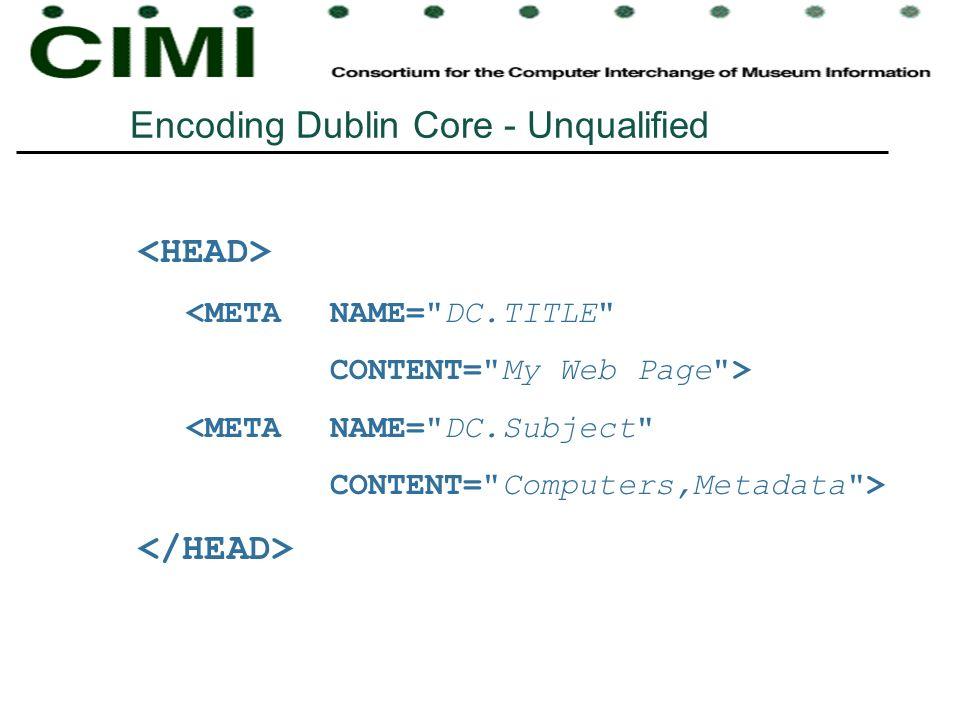 Encoding Dublin Core - Unqualified <META NAME=