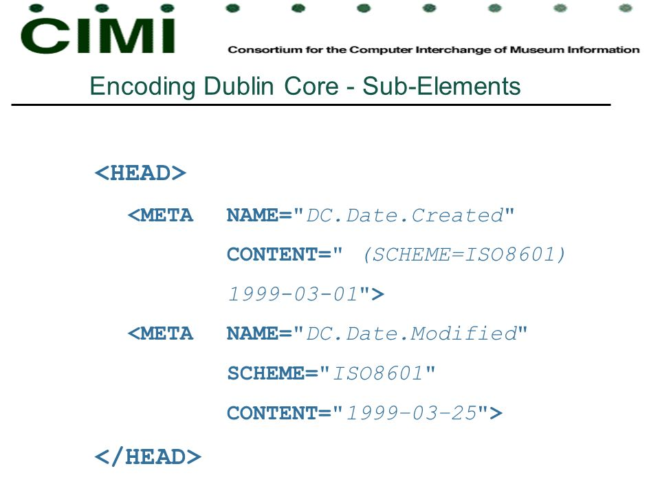 Encoding Dublin Core - Sub-Elements <META NAME=