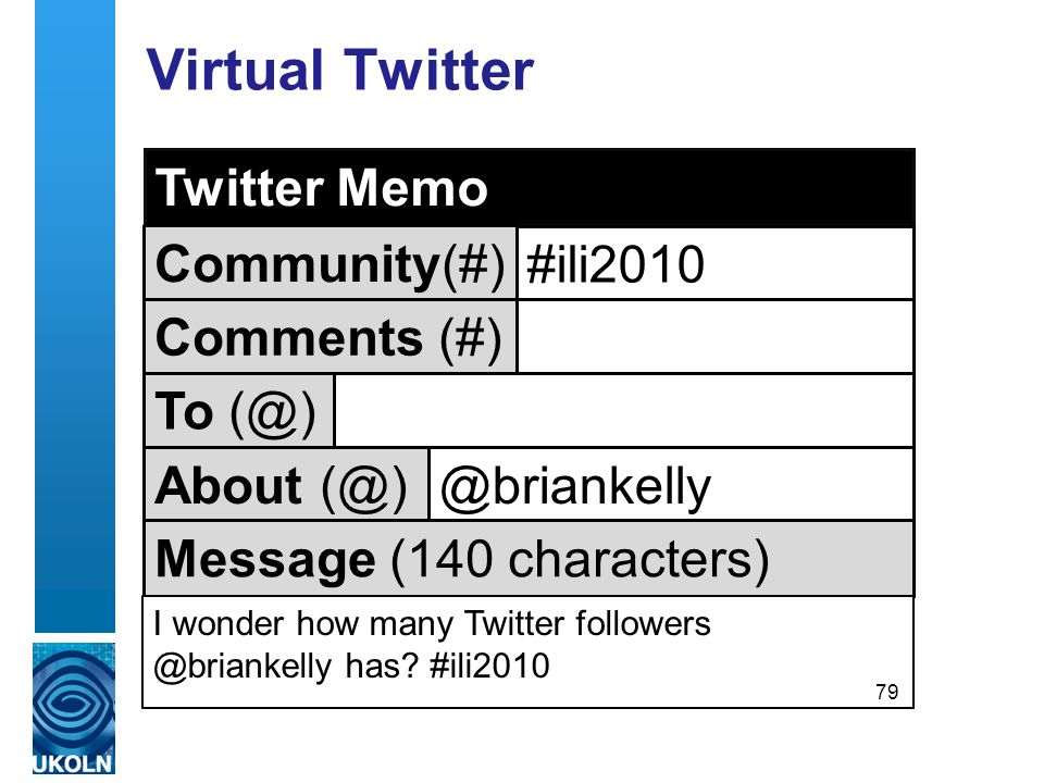 Virtual Twitter For those who aren´t Twitter users Twitter Memo Community(#) #ili2010 Comments (#) To About Message (140 characters) I wonder how many Twitter has.