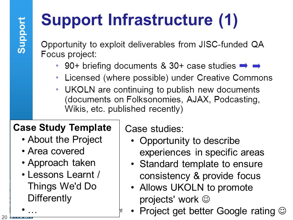 A centre of expertise in digital information managementwww.ukoln.ac.uk 20 Support Infrastructure (1) Opportunity to exploit deliverables from JISC-fun