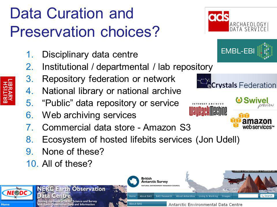 Data Curation and Preservation choices.