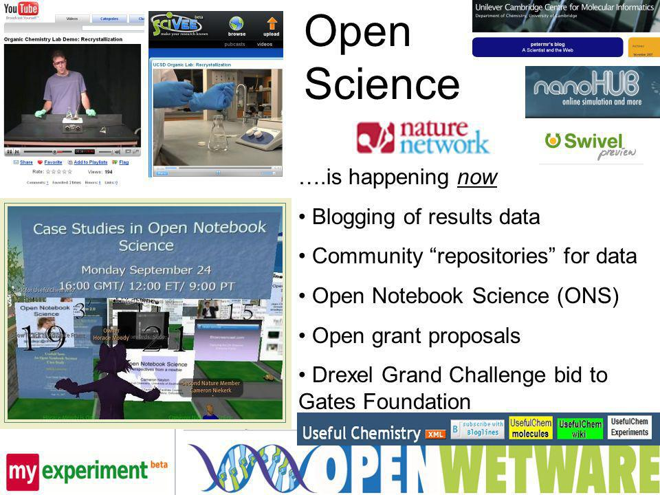 Open Science ….is happening now Blogging of results data Community repositories for data Open Notebook Science (ONS) Open grant proposals Drexel Grand Challenge bid to Gates Foundation
