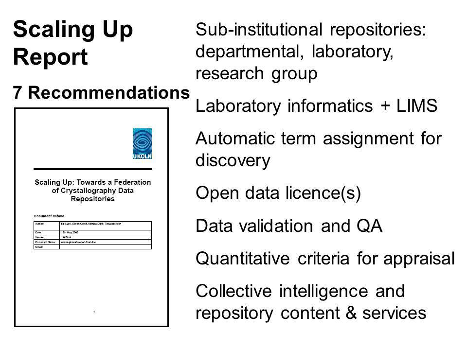 Sub-institutional repositories: departmental, laboratory, research group Laboratory informatics + LIMS Automatic term assignment for discovery Open data licence(s) Data validation and QA Quantitative criteria for appraisal Collective intelligence and repository content & services Scaling Up Report 7 Recommendations