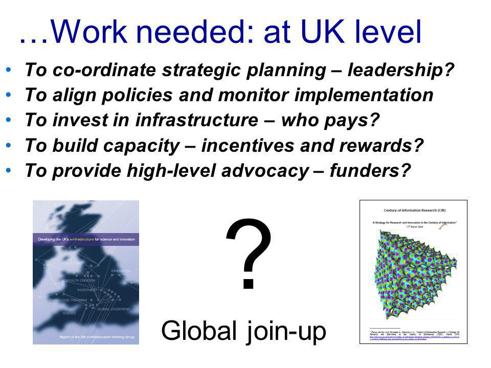 …Work needed: at UK level To co-ordinate strategic planning – leadership.