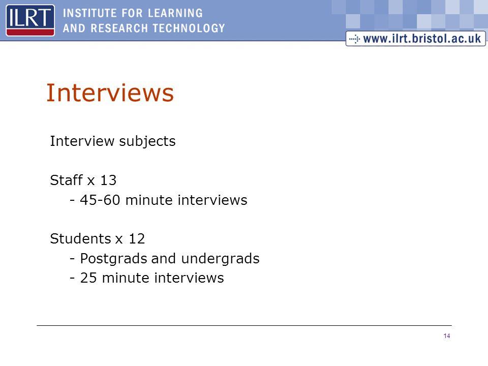 14 Interviews Interview subjects Staff x 13 - 45-60 minute interviews Students x 12 - Postgrads and undergrads - 25 minute interviews