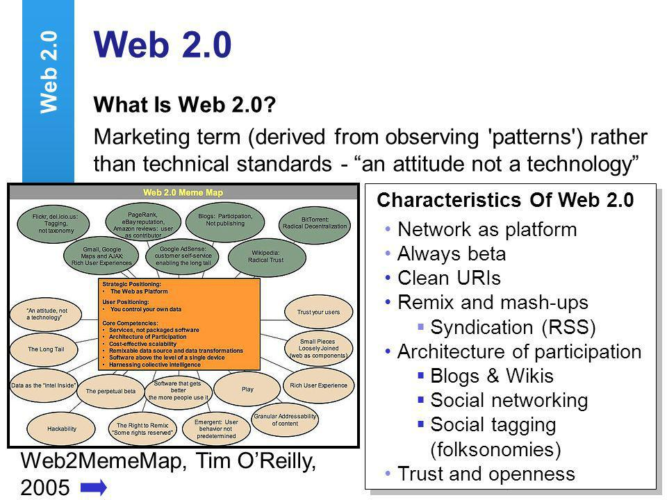A centre of expertise in digital information managementwww.ukoln.ac.uk 4 Web2MemeMap, Tim OReilly, 2005 Characteristics Of Web 2.0 Network as platform Always beta Clean URIs Remix and mash-ups Syndication (RSS) Architecture of participation Blogs & Wikis Social networking Social tagging (folksonomies) Trust and openness Characteristics Of Web 2.0 Network as platform Always beta Clean URIs Remix and mash-ups Syndication (RSS) Architecture of participation Blogs & Wikis Social networking Social tagging (folksonomies) Trust and openness Web 2.0 What Is Web 2.0.