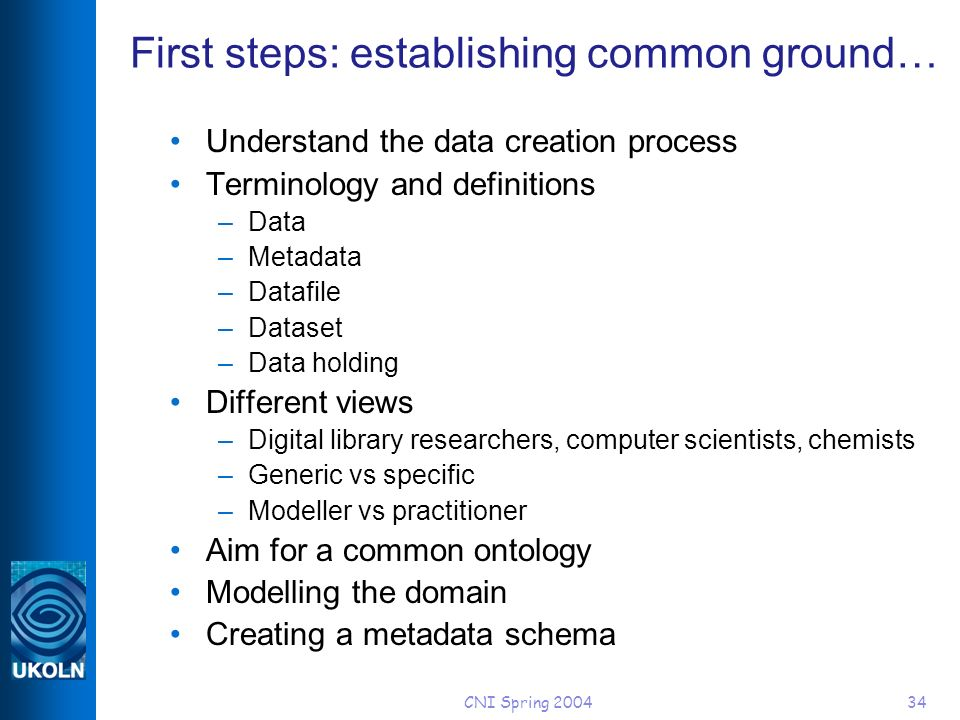 CNI Spring 200434 First steps: establishing common ground… Understand the data creation process Terminology and definitions –Data –Metadata –Datafile