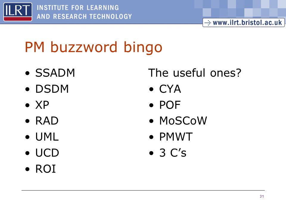 31 PM buzzword bingo SSADM DSDM XP RAD UML UCD ROI The useful ones CYA POF MoSCoW PMWT 3 Cs