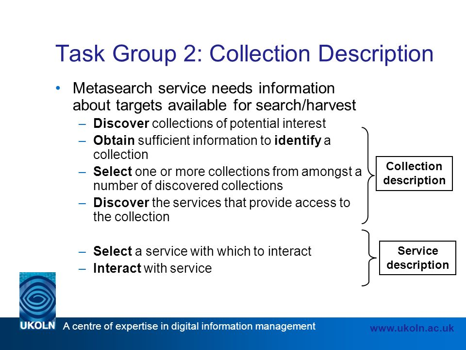 A centre of expertise in digital information management www.ukoln.ac.uk Task Group 2: Collection Description Metasearch service needs information about targets available for search/harvest –Discover collections of potential interest –Obtain sufficient information to identify a collection –Select one or more collections from amongst a number of discovered collections –Discover the services that provide access to the collection –Select a service with which to interact –Interact with service Collection description Service description