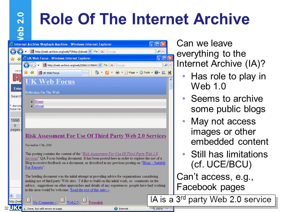 A centre of expertise in digital information managementwww.ukoln.ac.uk 32 Role Of The Internet Archive Can we leave everything to the Internet Archive (IA).