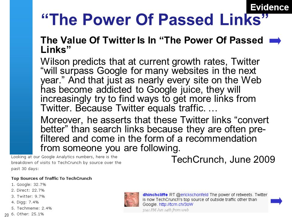 A centre of expertise in digital information managementwww.ukoln.ac.uk 20 The Power Of Passed Links The Value Of Twitter Is In The Power Of Passed Links Wilson predicts that at current growth rates, Twitter will surpass Google for many websites in the next year.