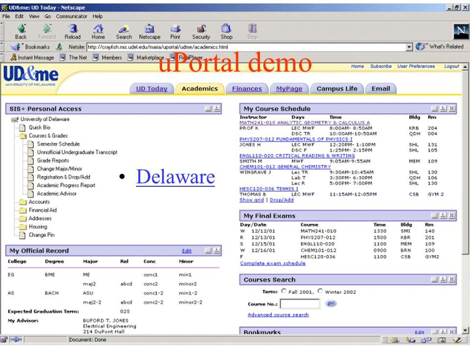 uPortal demo Delaware