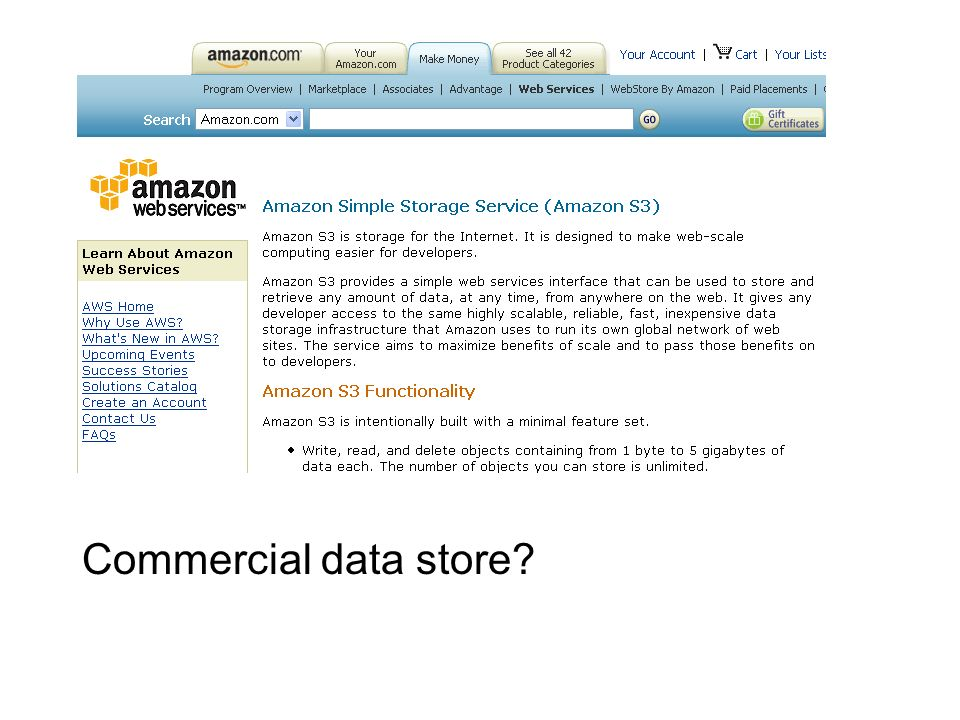 Commercial data store?