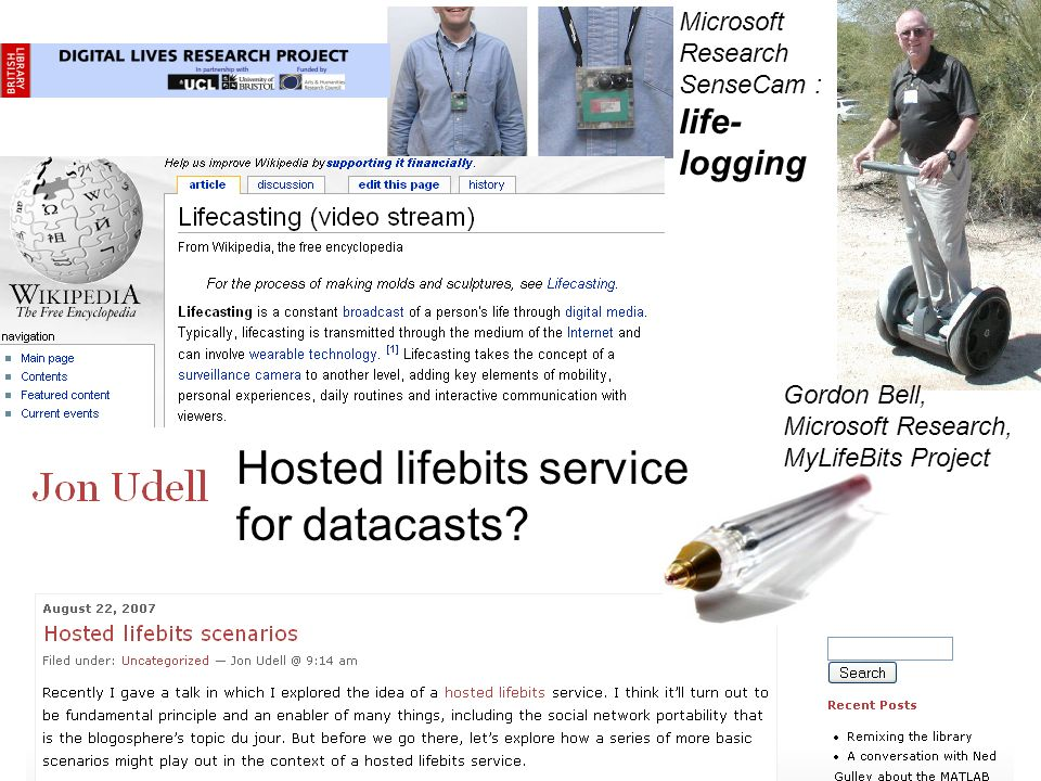 Microsoft Research SenseCam : life- logging Gordon Bell, Microsoft Research, MyLifeBits Project Hosted lifebits service for datacasts