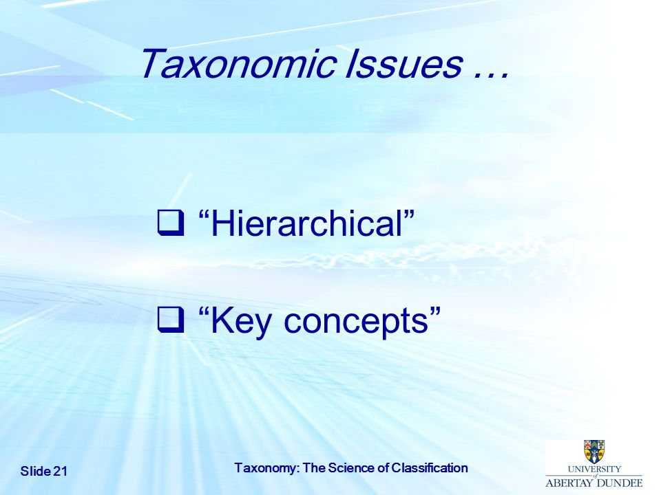Slide 21 Taxonomy: The Science of Classification Taxonomic Issues … Hierarchical Key concepts