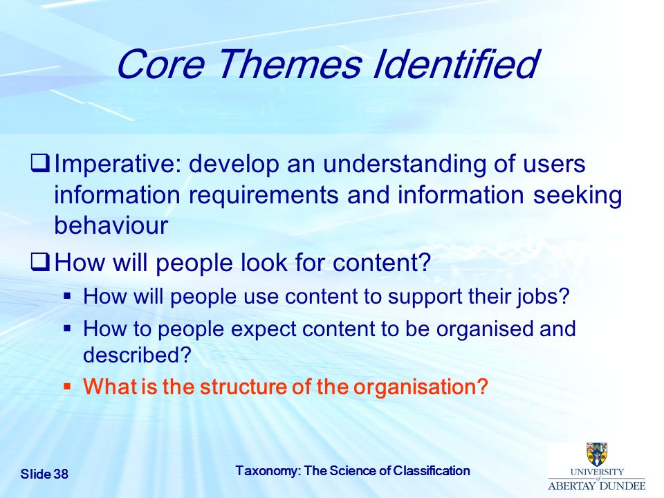 Slide 38 Taxonomy: The Science of Classification Core Themes Identified Imperative: develop an understanding of users information requirements and inf