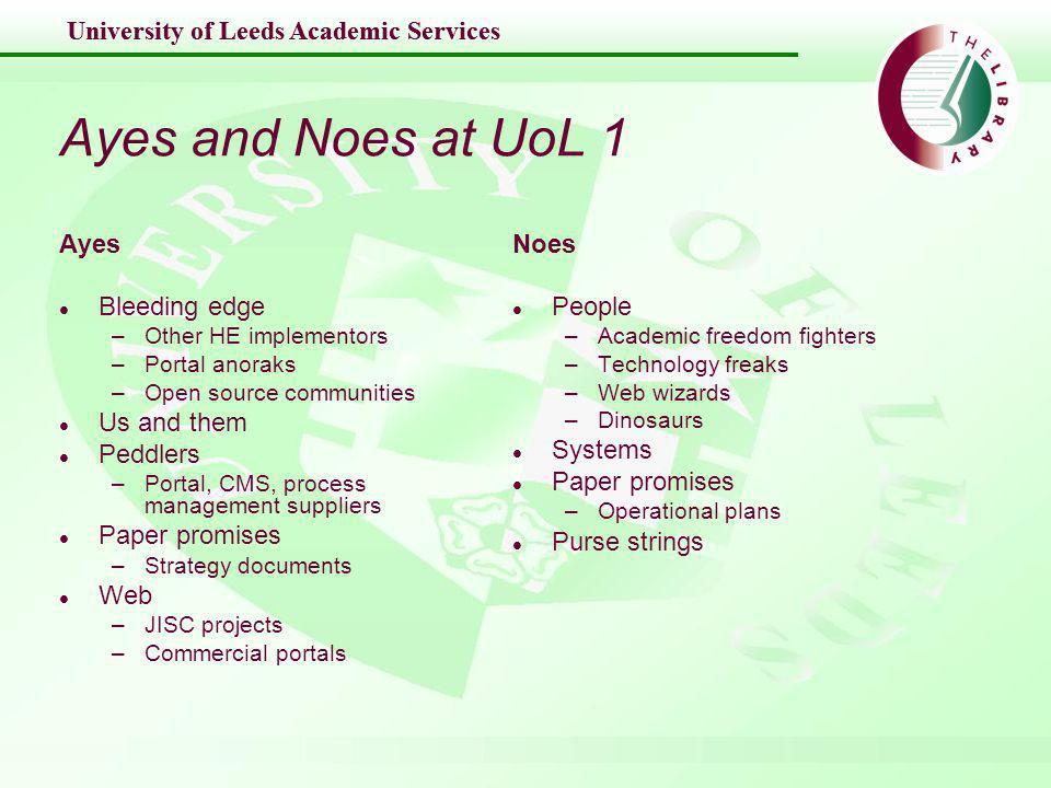 University of Leeds Academic Services Ayes and Noes at UoL 2 l Other HE institutions l JISC projects l Commercial portals l Open source communities l Students l Suppliers l Strategy docs and operational plans l Staff l Committees l Web – type in portal –Bristol links –JISC –Structured meetings l Student union/ student services/ intranet/ user groups/ mailing lists –Web survey (Hull) –Focus groups (incentive) l Web - review of portal products/contacts with current suppliers –Functionality, ROI and benefits docs –Presentations l Map strategy points against portal benefits l Staff Calendar/mailing lists/ newsletters –Roadshow –Structured meetings –Committee round – presentations focussed on appropriate area