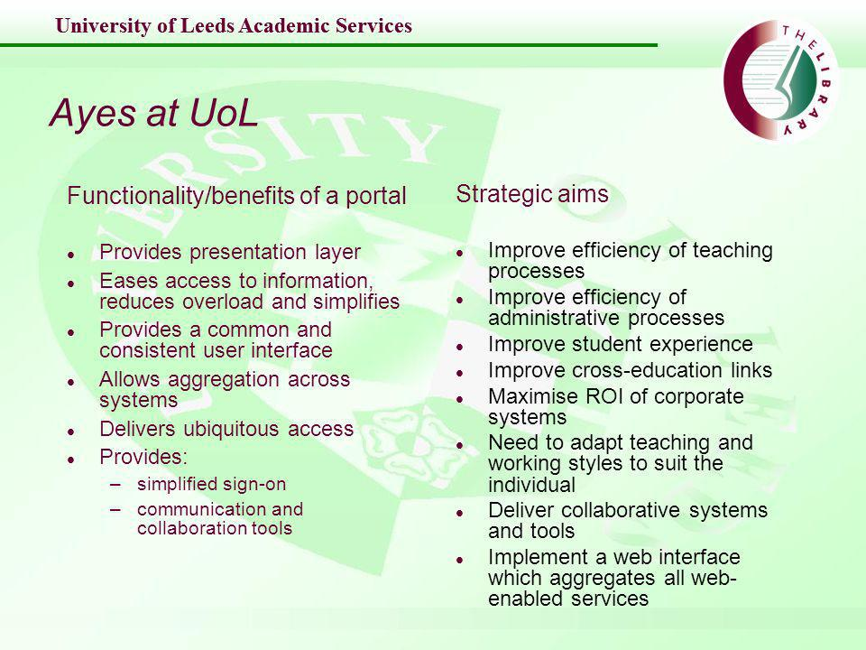 University of Leeds Academic Services Noes at UoL Detractors arguments l Academic freedom fighters –do things their own way –damn standardisation l Technology freaks –not invented here; not the right OS; not my choice –portals should work with every browser possible l Web wizards –frames are what matter –content is nothing to do with us –we can just have web links l Dinosaurs Current systems l VLE l Communication apps l Collaboration tools l Identity Services l Content Management l Web-enabled services l Enterprise apps